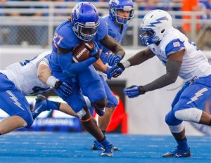 Boise State running back Jay Ajayi (27) carries the ball during the first half of an NCAA college football game against Air Force in Boise, Idaho, Friday, Sept. 13, 2013. (AP Photo/Otto Kitsinger)