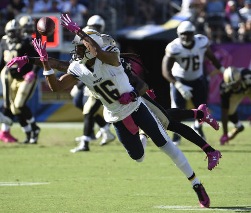 San Diego Chargers wide receiver Tyrell Williams hauls in a pass during the second half of an NFL football game against the New Orleans Saints, Sunday, Oct. 2, 2016, in San Diego. (AP Photo/Denis Poroy)