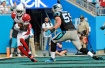 Arizona Cardinals' J.J. Nelson (14) catches a touchdown pass as Carolina Panthers' Luke Kuechly (59) defends in the second half of an NFL football game in Charlotte, N.C., Sunday, Oct. 30, 2016. (AP Photo/Mike McCarn)