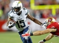 Dec 20, 2014; Santa Clara, CA, USA;  San Diego Chargers wide receiver Dontrelle Inman (15) makes a reception for a first down during the fourth quarter against the San Francisco 49ers at Levi's Stadium. Charges won 38-35 in overtime. Mandatory Credit: Bob Stanton-USA TODAY Sports